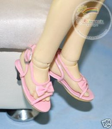 Dollfie MSD Unoa Shoes Clear/Patent Bow Sandals Pink