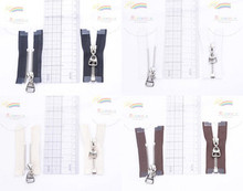 """2"""" Silver Plated Brass Open-End Separating Doll Clothes Mini Sewing Zipper 2pcs"""