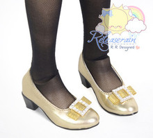 Square Rhinestone Bow Low Heel Pumps Shoes Gold for SD Girl Dollfie BJD dolls
