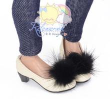 "Black Mink Fluffy Ivory Pumps MSD BJD Dollfie Shoes for Slim MSD BJD, Unoa/14"" Kish/Minifee"