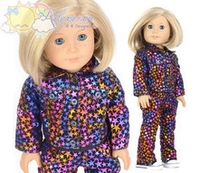 "Black Rainbow Stars Velvet Outfit Jacket & Pants for 18"" American Girl dolls"