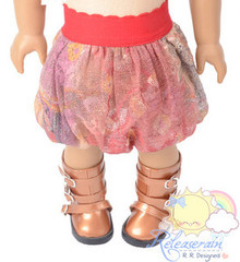 "Coral Boho Paisley Mesh Bubble Skirt Doll Clothes Outfit for 18"" American Girl"