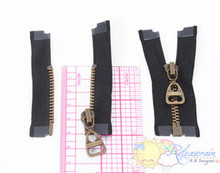 """2"""" Bronze Plated Brass Black Open-End Separating Doll Clothes Sewing Zipper 2pcs"""