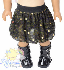 "Black/Sparkly Gold Sequin Bubble Skirt Doll Clothes Outfit for 18"" American Girl"