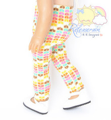 "Yellow Rainbow Petals Leggings Pants Doll Clothes Outfit for 18"" American Girl"