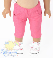 "Doll Clothes Elastic Waist Cherry Pink Denim Capri Jeans for 18"" American Girl"