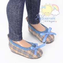 "Ballet Ribbon Pumps Shoes Blue/Khaki Checker for Slim MSD Minifee Unoa BJD 14"" Kish/17"" Goodreau BJD Dolls"