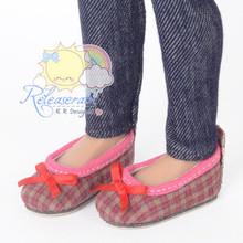 "Ballet Ribbon Pumps Shoes Rose Pink/Khaki Plaid for Slim MSD BJD Minifee Unoa 14"" Kish/17"" Goodreau BJD Dolls"