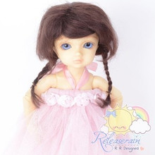 Mohair Wool Doll Wig Size 6-7 #Y67 Wine Brown Hair for Unoa/Narae/Ellowyne/Yo-SD