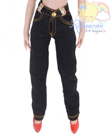 "Releaserain Doll Clothes Black Denim Jeans Pants For 16"" Fashion Dolls Tonner Tyler Ellowyne Wilde Antoinette"