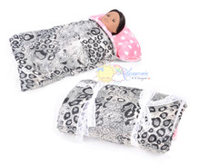 "Leopard w/ Pink/W Dot Fleece Sleeping Bag #BG01 for 18"" American Girl, Gotz doll"