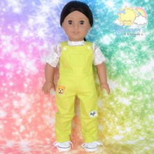 "Doll Clothes Kindergarten Overalls Jean Pants Lime Y/Green for 18"" American Girl"