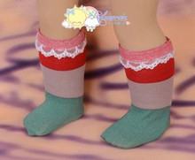 "Red/Coffee/Green Wide Stripes White Lace Trim Socks for 18"" American Girl dolls"