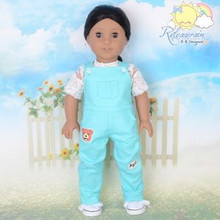 "Doll Clothes Kindergarten Overalls Jeans Pants Ice Blue for 18"" American Girl"