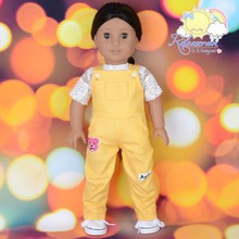 "Doll Clothes Kindergarten Overalls Jean Pants Mango Yellow for 18"" American Girl"
