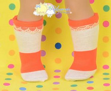 "Orange/Ivory Wide Stripes Cotton Lace Trim Socks for 18"" American Girl dolls"