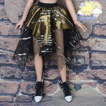 Doll Clothes Black Sequined Mesh Gold Skirt for Ellowyne Wilde MSD BJD Dollfie