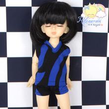 "Navy Blue Black Vest Briefs Sleepwear Outfit for Yo-SD Dollfie/12"" Kish Dolls"