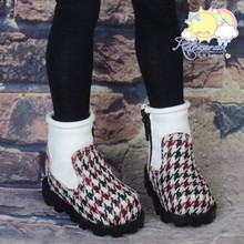 Doll Shoes 2-Tone Boots B/Wine/W Houndstooth Wh for MSD BJD Dollfie Kaye Wiggs