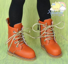 Martin Stitch Shoes Boots Orange/Gold Laces for MSD BJD Dollfie/Kaye Wiggs Doll