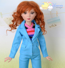 "16"" Fashion Doll Clothes Bright Blue Suit Jacket Jeans 3pcs Set Outfit for Tonner Ellowyne Wilde"