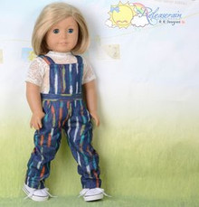 "Doll Clothes Graffiti Dash Denim Blue Overalls Jeans Pants for 18"" American Girl"