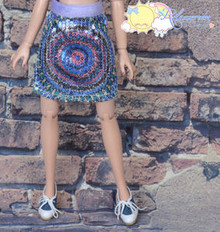 Doll Clothes Peacock Sequined/Lavender Skirt for Tonner Tyler Ellowyne Wilde MSD