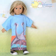 "Doll Clothes Great Egret Couple Sky Blue Maxi Dress for 18"" American Girl Dolls"