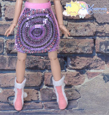 Doll Clothes Peacock Sequined/Fur Pink Skirt for Tonner Tyler Ellowyne Wilde MSD