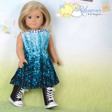 "Doll Clothes Gradated Teal Ink Drops Elastic Waist Dress for 18"" American Girl"