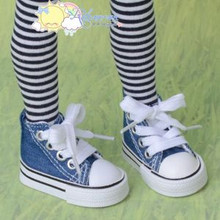 "Doll Shoes Ankle Sneakers Boots Indigo Denim for MSD BJD Dollfie 17"" Tonner Matt"