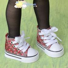 "Doll Shoes Ankle Sneakers Boots Flower D Red for MSD BJD Dollfie 17"" Tonner Matt"