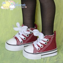 """Doll Shoes Ankle Sneakers Boots Wine Red for MSD BJD Dollfie Unoa 17""""Tonner Matt"""