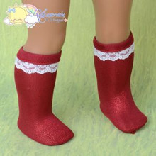 "Doll Clothes White Lace Trim Metallic Red Socks for 18"" American Girl Dolls"