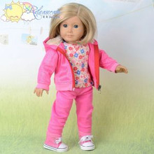"Doll Clothes Glitter D Pink Tracksuit Outfit Hoodie Pants for 18"" American Girl"