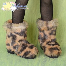 "Doll Shoes Fluffy Furry Boots Leopard for MSD Kaye Wiggs BJD Dollfie 16"" Sasha"