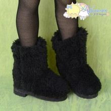 "Doll Shoes Fluffy Furry Boots Black for MSD Kaye Wiggs BJD Dollfie 16"" Sasha"