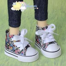 """Doll Shoes Ankle Sneakers Boots Flower Black for MSD BJD Dollfie 17"""" Tonner Matt"""