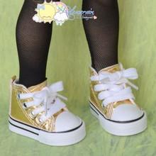 "Doll Shoes Ankle Sneakers Boots L Gold for MSD BJD Dollfie Unoa 17"" Tonner Matt"