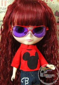 "Releaserain Doll Glasses Copper Sunglasses Red Frame Purple Lens #C2 For 12"" Blythe and 16"" Terri Lee Dolls"