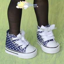 "Doll Shoes Ankle Sneakers Boots Navy Blue/Dot for MSD BJD Dollfie 17""Tonner Matt"