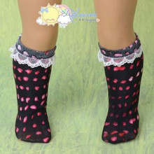 "Doll Clothes White Lace Trim Black Strawberry Drops Socks for 18"" American Girl"