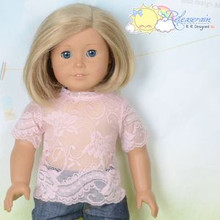 "Doll Clothes Flesh Pink Lace Short Sleeves Tee Shirt for 18"" American Girl Dolls"