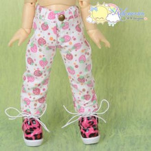Doll Clothes Strawberry Denim White Jeans for Yo-SD Littlefee BJD Dollfie Dolls