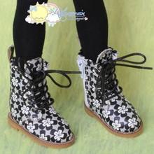 "Martin Stitch Shoes Boots Black Flowers for MSD BJD Kaye Wiggs 16"" Sasha Dolls"