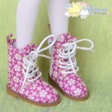 "Martin Stitch Shoes Boots Fuchsia Flowers for MSD BJD Kaye Wiggs 16"" Sasha Dolls"