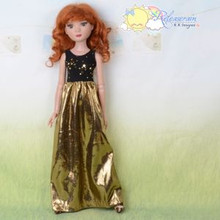 Doll Clothes Sequin Black Sleeveless/Gold Dress for Tyler Ellowyne Wilde MSD BJD