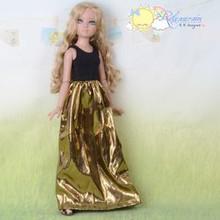 Doll Clothes Black Sleeveless/Gold Dress For Tyler Ellowyne Wilde Unoa MSD BJD Dolls