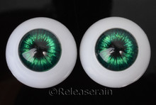 Doll Acrylic Eyes Half Round Sparkling Green #RS04 20mm for BJD Dollfie, Reborn Dolls