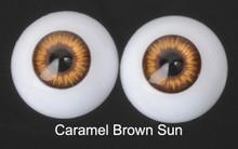 Doll Acrylic Eyes Half Round Caramel Brown Sun #R004 18mm for BJD Dollfie, Reborn Dolls